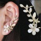 1 PC Flower Shape Rhinestone Crystal Left Ear Cuff Stud Wrap Clip Earring