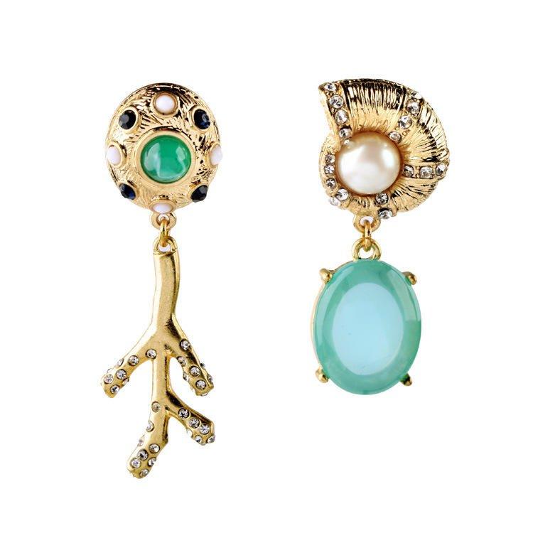 Blue Gemstone Asymmetric Stud Earring Unique Design Pearl Diamond