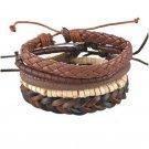 Bracelet Beads Charm Wrap Braided Leather Cuff Bangle Adjustable