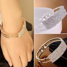 Elegant Bangle Wristband Bracelet Crystal Cuff Bling - 2 colors