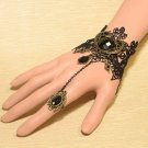 Metal Black Lolita Adjustable Ring Lace Bracelets Beads Crystal Bangle Chain