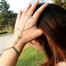 Geometry Retro Turquoise Bracelet Hand Chain Bangle Finger Ring