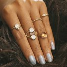 5 Pces Vintage Style Crystal Hollowed-out Flower Joint Rings