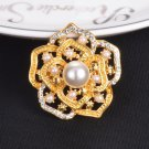 Vintage Style Crystals Imitation Pearl Large Bow Brooch Wedding - 2 colors