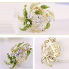 Flower Brooch Pins Rhinestone Jewelry Gold Plated