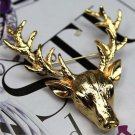 Popular Cute Gold Plated Deer Antlers Head Pin Brooches