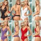 Lingerie bodysuit sheer lace lace nightwear women's sleeveless - 4 colors