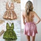 Satin silk chemise women's v-neck nightdress - 3 colors