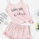 Pajama sets Shein letter casual summer camis ruffles short sleeveless