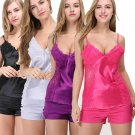 Casual hollow sleeveless solid Sexy pajama set - 4 Colors