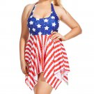 Women plus size flag padded bra causal push up set of swimwear