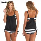 Swimwear striped beach bandage patchwork push up strappy bathing suit - 5 colors