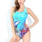 Blue marine pattern nylon one-piece swimsuit