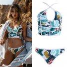 Swimsuit women floral bandeau zipper bathing push up beachwear