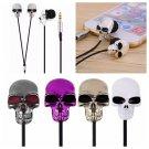 Skull earphone 3.5mm metal earbuds skeleton in-ear - 4 colors