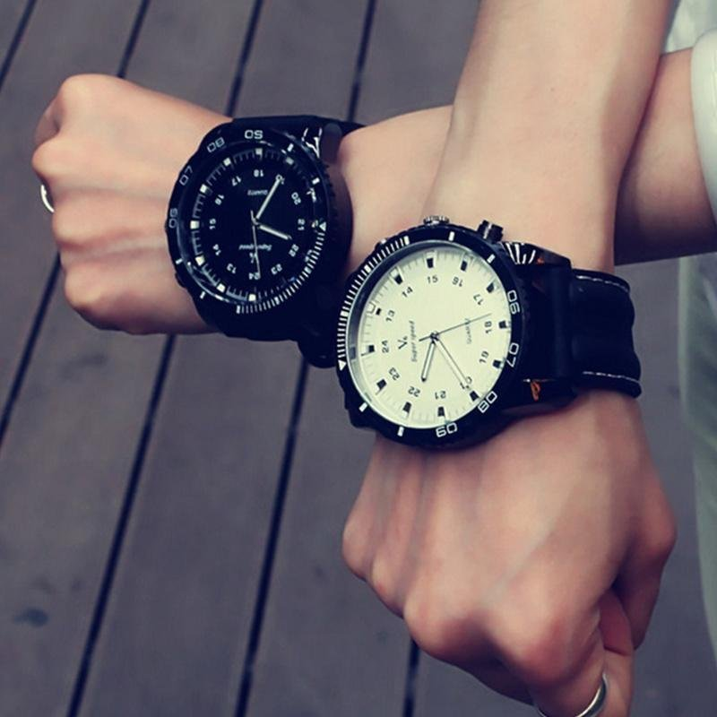Fashion Couple Student Sports Large Dial Watch Wristwatch - 2 colors