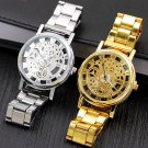 Stainless Steel Skeleton Dress Wristwatch Steel Quartz Hollow Watch - 2 colors