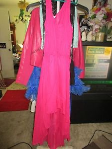 5TH & Love Pink/Fuschia Chiffon Stylish Hi Low Long Dress, size S