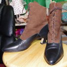 Vintage Nine West Granny Boots, RARE Two Tone Brown size 8M