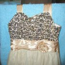 Rare Editions Dress, Size 14,Gold Sequined Bodice Valentine's Easter Prom LN