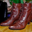RARE Brown Leather Vintage Edwardian Enzo Angiolini Granny Boots size 8