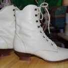 Vintage Mixed Blues Cream Leather Granny Boots size 8M