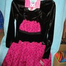 "WHAT A DOLL BLACK/PINK VELOUR DRESS 10/12 + Matching set for 16-18"" Doll"
