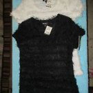 2 Amy Byer juniors size XL fuzzy tops a black & a white NWT