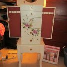 Hand Painted Off White Floral Motif Jewelry Storage Armoire by Thomas Pacconi