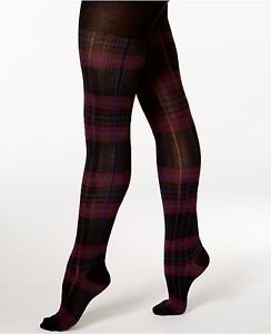 HUE Footed Sweater Tights Black Burgundy Plaid NWT size S/M