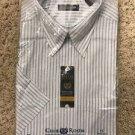 Club Room Mens ESTATE Dress Shirt Short Sleeve Seafoam Blue Striped size 15 Neck