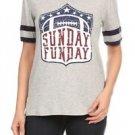 Midnight Lovers NWT Sunday Funday Football Women's Short Sleeve Gray T-Shirt