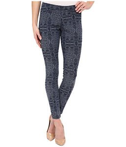 HUE Arabesque Denim Jacquard Leggings Dark Denim Wash NWT size Small