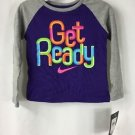 NWT Nike Girls Long Sleeve Gray Purple Colorblock Shirt GET READY size 3T