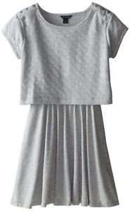 Tommy Hilfiger Girls Pearl Heather Gray Quilted Crop Top Dress NWT size 16 XL