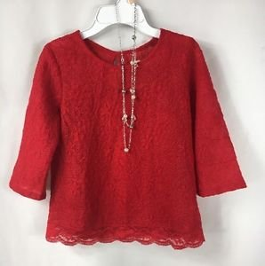 Speechless Girls 3/4 Sleeve Red Lace Shirt + Tank + Necklace NWT size XLarge