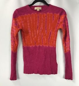 Michael Kors Women's Long Sleeve Ribbed Sweater Pink Orange TieDye size XXSmall