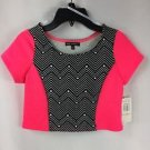 Sequin Hearts Girls Neon Pink Black White Short Sleeve Crop Top NWT size 10