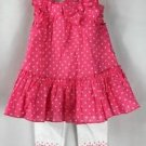 First Impressions Baby Girl 2-piece Pink White Dress Legging Outfit NWT 18months