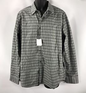 Calvin Klein Multi-Check Gingham Gray Liquid Cotton LS Shirt NWT size Large