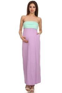 J-Mode Boutique Maternity Strapless Maxi Dress w/Pockets USA Made Mint & Lilac