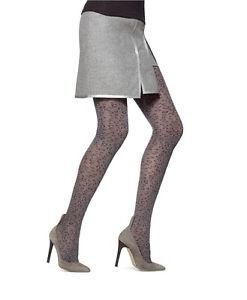 HUE Graphite Heather Gray Leopard Control Top Tights NWT size S/M