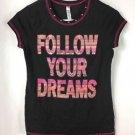 NWT Beautees Girls Short Sleeve Black Pink T-Shirt FOLLOW YOUR DREAMS size XL