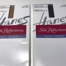 4-PAIRS Hanes Silk Reflections Silky Sheer Knee High NWT Barely Black/Ltl Color