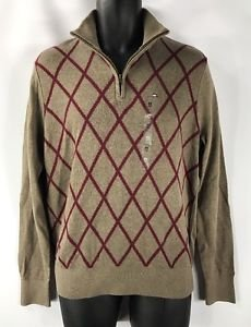 Tommy Hilfiger Mens Kenny Argyle Quarter Zip Sweater Morel Heather NWT Medium