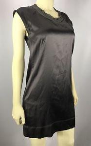 Theory Calm Gray Silk Blend Cap Sleeve Chain Neck Marliss Dress size 6