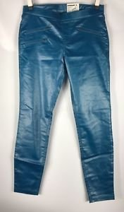 HUE Zippered Glossy Denim Leggings Planet Blue NWT size Large