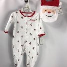 Carter's Baby Girl Boy One Piece Sleep Play Set + Bib First Christmas NWT 3mo