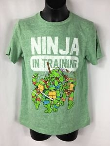 TMNT Ninja Turtles Kelly Green Short Sleeve T-shirt Ninja in Training NWT Small
