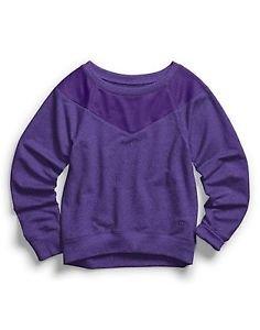 Champion Girls Heather Mesh Overlay Sweatshirt Electric Purple NWT size Small